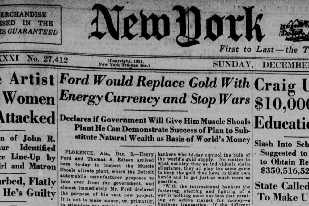 Страница New York Tribune со статьей Форда